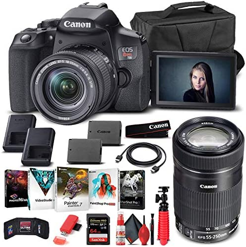 Canon EOS Insurgent T8i DSLR Digital camera with 18-55mm Lens (3924C002) + Canon EF-S 55-250mm Lens + 64GB Reminiscence Card + Case + Corel Picture Software program + LPE17 Battery + Card Reader + Extra (Renewed)