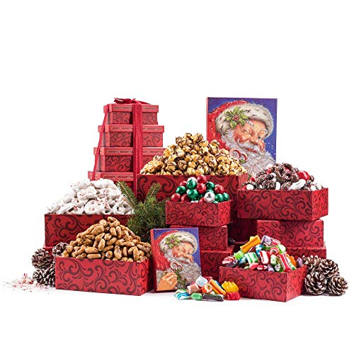 Almond Mint Candy - Benevelo Gifts 6 Tier Gourmet Nuts & Snacks Holiday Gift Set | Chocolate Caramel Drizzled Popcorn, Peppermint Pretzels, Honey Glazed Almonds, Old Fashioned Christmas Candy Mix, and Holly Jolly Mix