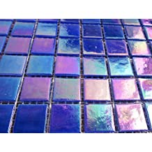 50 Bright Cerulean Blue Iridescent Glass Mosaic Tiles, Square Glass Pieces,Craft Supply for Tile Mosaic Art
