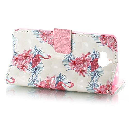 Lotuslnn Huawei Y5 2017 / Y6 2017 plus caja del teléfono, caja de cuero de la PU cubierta de cierre magnético cubierta con Kickstand y ranuras para tarjetas de bolsillo en efectivo para Huawei Y5 2017 Flamingo pink
