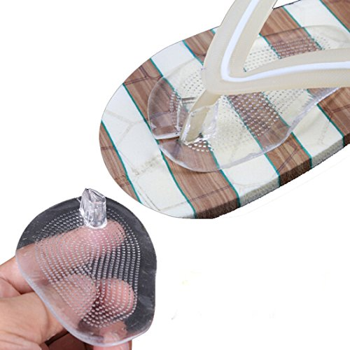Flyusa 2 Pairs Soft Silicone Flip Gel Cushions Pad Toe Protectors for Thong Sandal Flip Flop Gel Inserts Guards Insoles Shoes Grip Pads