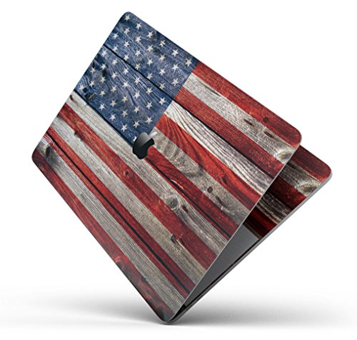 """Wood Pattern Design Skinz Premium Full-Body Cover Wrap Decal Skin-Kit for the MacBook 13"""" Pro 2017+ (A1708) - Wooden Grungy American Flag by iiRov"""
