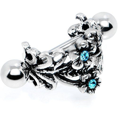 Body Candy Steel Brilliant Blue Accent Double Daisy Flower Cuff Cartilage Earring 16 Gauge 1/2