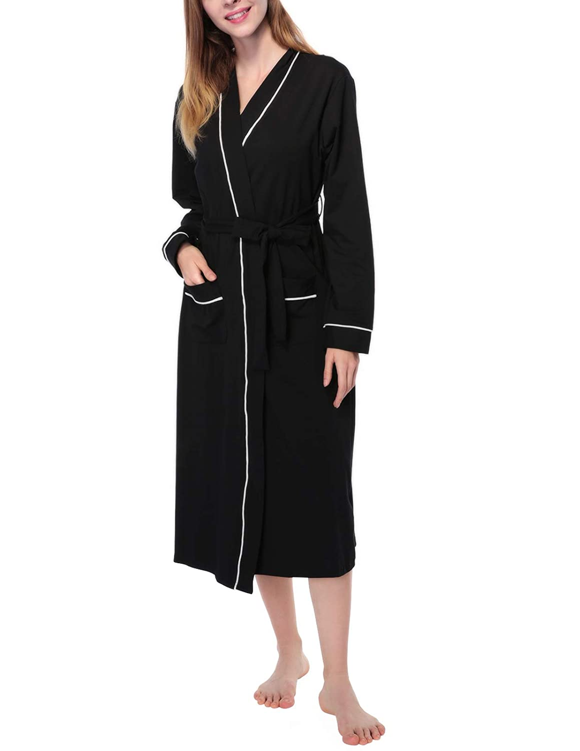 758f23efc0 AMONIDA Cotton Bathrobe for Women Long Robes Soft Sleepwear at Amazon Women s  Clothing store