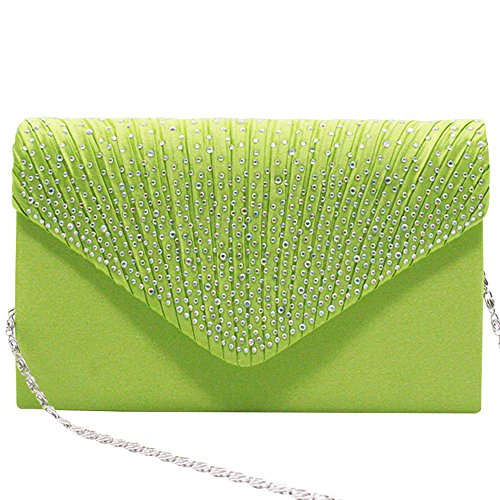 Apple Handbag Green Envelope Silver Evening Bag Rhinestone Pleated Classic Clutch Cckuu Satin Women zRwZqvP