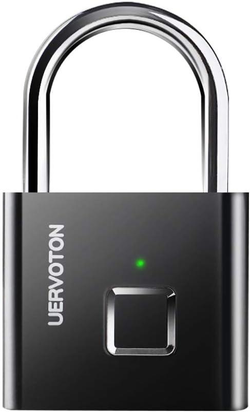 Uervoton candado antirrobo con Huella Dactilar Inteligente, Cerradura de Puerta Impermeable USB con Cierre de Seguridad de desbloqueo rápido, Negro Candado de huellas dactilares