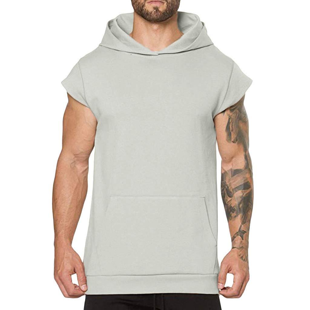Kirbaez Men's Tank Tops Summer Short Sleeve Personality Hooded Slim Fit Casual Sport Vest Blouse Tops with Pocket Khaki