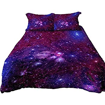 A Anoleu Printed Purple Galaxy Bedding, Luxury Breathable & Extremely Durable Cotton Galaxy Duvet Cover Set 3 PCs, Twin/Full/Queen/King (Purple 2254-2, Full)