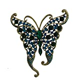 TTjewelry Vintage Butterfly Insect Brooch Pin Rhinestone Crystal (Cyan)