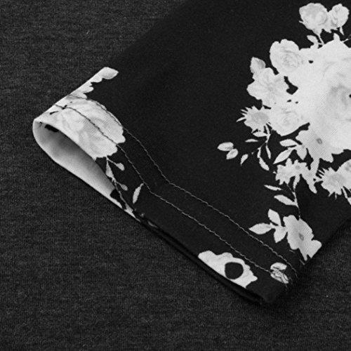 Rawdah Mujeres camiseta manga larga de manga larga de manga larga camiseta Negro