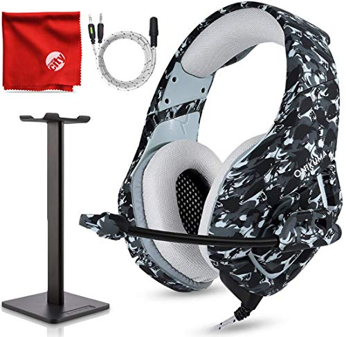(ONIKUMA K1-B Pro Camouflage Over-Ear Surround Sound Noise Cancelling Gaming Headset Microphone Bundle with Headphone Stand for PC, Xbox One, PS4, Nintendo Switch, Mac, Desktop, Laptop, Computer )