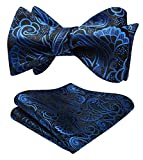 HISDERN Men's Paisley Jacquard Wedding Party Self Bow Tie Pocket Square Set One Size Blue/Black