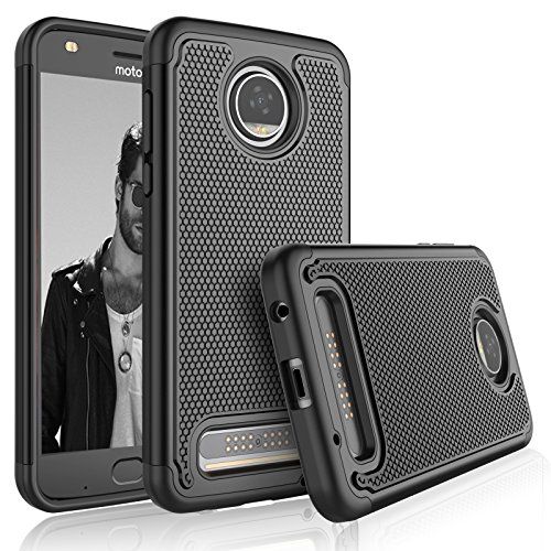 Tekcoo Moto Z2 Play Case, Tekcoo Motorola Z2 Play Droid Sturdy Case, [Tmajor] Shock Absorbing [Black] Rubber Silicone & Plastic Scratch Resistant Bumper Grip Hard Cases for Moto Z Play 2017 Cover