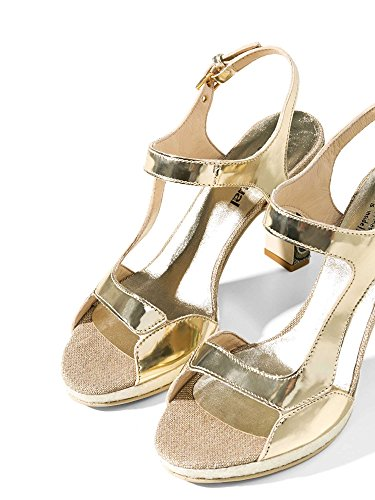 DESIGUAL 72SSGA9/1024 SHOES_MARILYN GOLD ORO DECOLLETE SANDALI DONNA TACCO PELLE