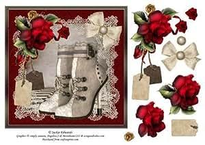 Steampunk botas de rosas rojas y encaje por Jackie Edwards