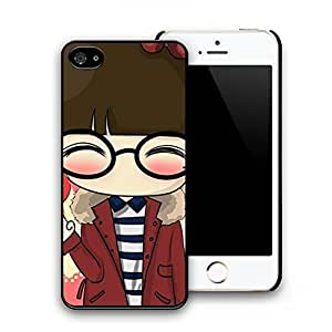 Glasses Girl Pattern Hard Plastic Back Protective Case Cover Skin for iphone 5/5s