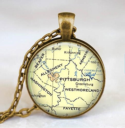 Pittsburgh map necklace, Pittsburgh map pendant , glass dome pendant,map - Shopping Pittsburgh In Pennsylvania
