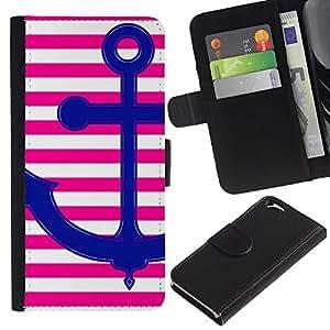APlus Cases // Apple Iphone 6 4.7 // Marinero Rosa Ancla Amor rayas líneas blanco // Cuero PU Delgado caso Billetera cubierta Shell Armor Funda Case Cover Wallet Credit Card