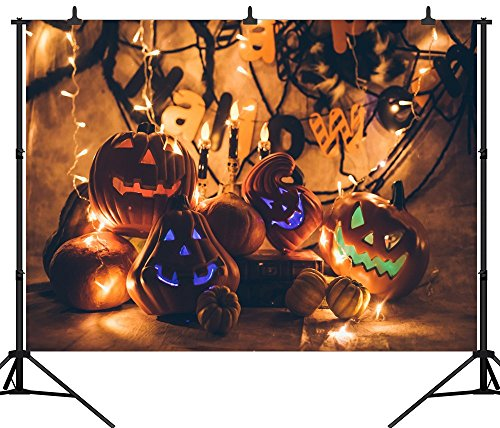 DePhoto 7X5FT(210X150CM) Halloween Theme Pumpkin Lantern Customized Seamless Vinyl Photography Backdrop Photo Background Studio Prop PGT246A]()