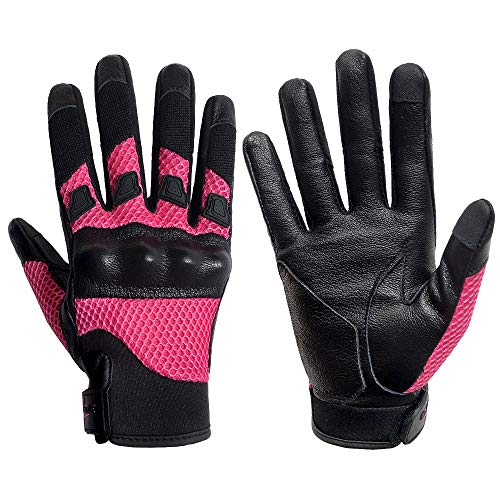 Breathable Motorcycle Gloves Women Leather Motorbike Gloves Knuckle Armored Street Bike Gloves Touchscreen (G17W-Rose Mesh Fabric, M)
