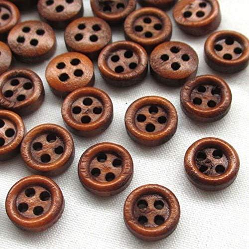 Yitang 50個ダークコーヒーレトロな8ミリメートル編み物かぎ針編みのうちA、さまざまなミニエコフレンドリーラウンドブラウンウッドボタン4つの穴クラフト服縫製インテリアボタンに最適
