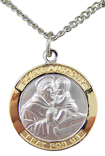 Gold and Sterling Silver Tu-Toned Saint St Anthony Medal Pendant, 7/8 Inch