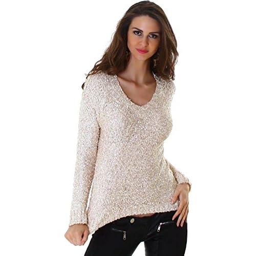 envío gratis Suéter de punto para mujer Jela Londres lentejuelas cadenas  V-cuello