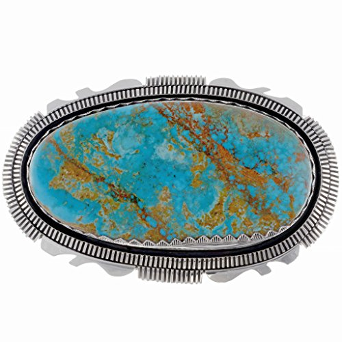 Kingman Turquoise Belt Buckle Navajo Custom Sterling by Alltribes