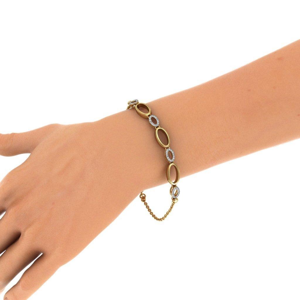 14K Yellow Gold 0.28 cttw Round-Cut-Diamond 9.25 inches identification-bracelets Size HallMarked IJ| SI