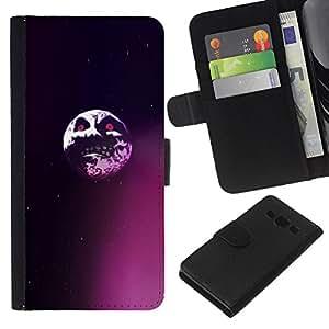LECELL--Cuero de la tarjeta la carpeta del tirón Smartphone Slots Protección Holder For Samsung Galaxy A3 -- Saw Evil Luna --