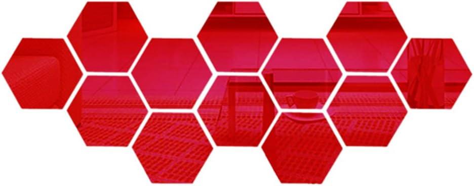 10cm 1set rouge 12 pcs stickers miroir hexagonal 3d combinaison diy art acrylique pour vivre 10