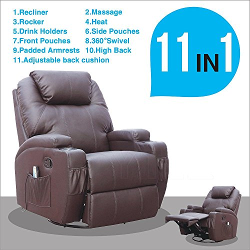 SUNCOO Massage Recliner Bonded Leather Chair Ergonomic Lounge Heated Sofa  With Cup Holder 360 Degree Swivel (Manual Recliner Brown 11 IN 1)