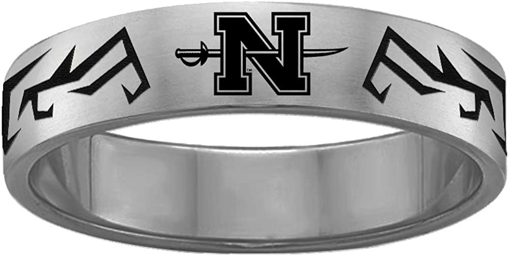 Tribal Design Nicholls State University Colonels Rings Stainless Steel 8MM Wide Ring Band