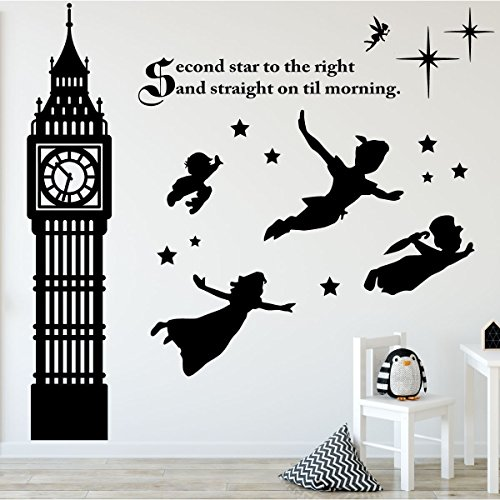 Children's Room Wall Decor - Peter Pan Scene Silhouettes - Disney Themed Vinyl, Vinyl Art Stickers for Kids Room, Playroom, Boys Room, Girls Room - Second Star to the Right and Big Ben Clock Tower - Star Right Tower