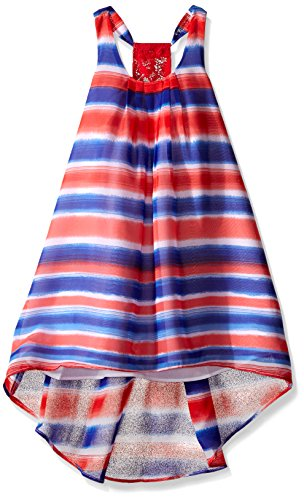 Bonnie Jean Big Girls' Watercolor Stripe Chiffon Hi Low Dress,
