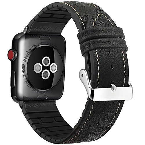 FanTEK Band for Apple Watch 38mm, Sports Genuine Leather+Rubber TPU Replacement Bracelet Strap with Stainless Metal Clasp Compatible with 38mm iWatch Series 3 Series 2 Series 1 Black