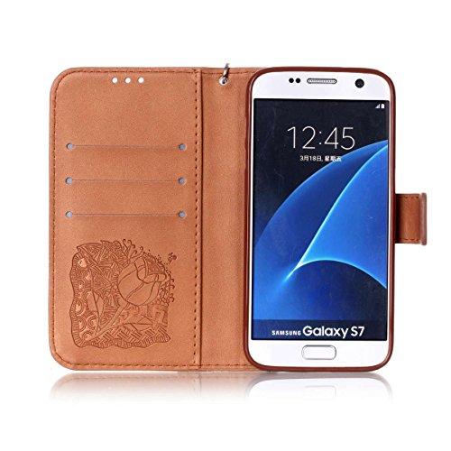 Funda Galaxy S7, Carcasa Plegable para Galaxy S7, Funda de piel Galaxy S7, Lifetrut Sólido Shiny Sparkle libro de estilo funda de cuero con ranura para tarjetas de cierre magnético soporte funda de te E216-Rose Flor en marrón