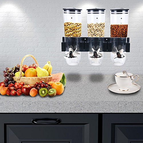 Homend Indispensable Wall Mount Triple Dry-Food Dispenser, Cereal Dry Food Dispenser Kitchen Storage ()