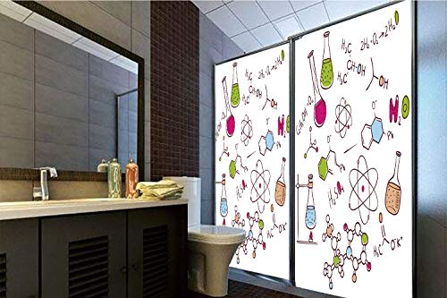 Horrisophie dodo 3D Privacy Window Film No Glue,Educational,Doodle Style Hand Drawn Chemistry Composition with Atom Molecules Flask Decorative,Green Blue Pink,47.24