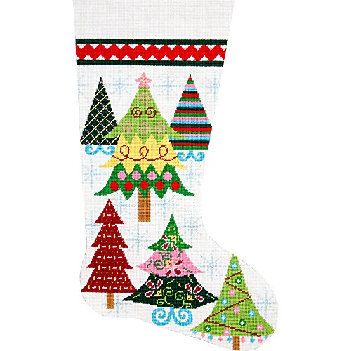 - Alice Peterson Home Creations Holiday Edition Needlepoint Stocking Kit-- Merry Christmas Trees- Large, Deluxe Size