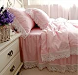 FADFAY Korean Girls Pink Bedding White Lace Ruffle Duvet Cover Beddig Sets 4-Piece