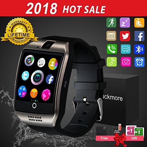 Bluetooth Smart Watch Touchscreen with Camera,Unlocked Watch Cell Phone with Sim Card Slot,Smart Wrist Watch,Waterproof Smartwatch Phone for Android Samsung IOS Iphone 7 6S Men Women Kids by Luckymore