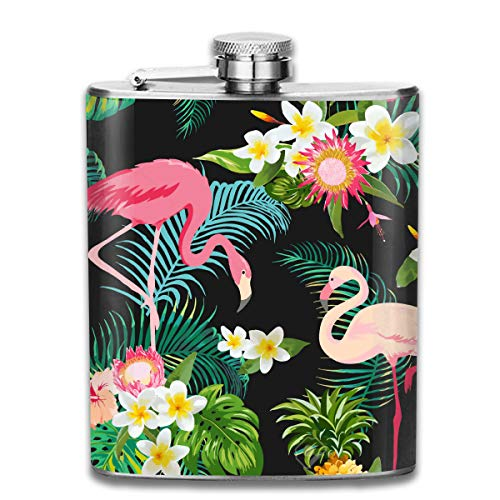 Men and Women Thick Stainless Steel Hip Flask Outdoor Mini Portable Tropical Jungle Flamingos Floral Portable Adult Pocket Flagon Whiskey Container Flask Pocket 7 Oz 304 Thick for Unisex
