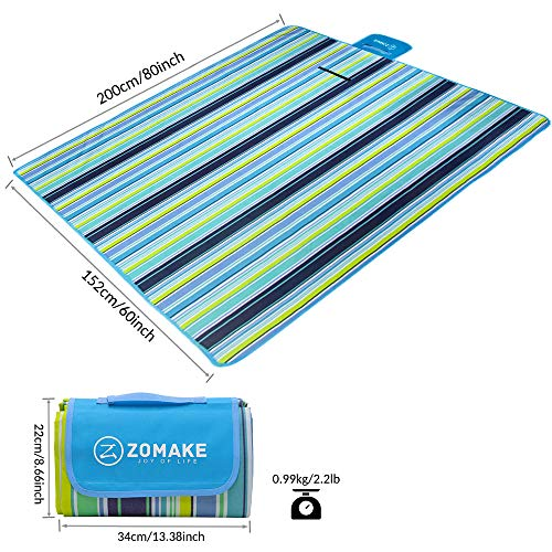 "ZOMAKE Picnic Outdoor Blanket with Waterproof Backing, Portable Machine Washable Oversized Mat for Beach,Camping,Park,Music Festivals (80""x 60"")"