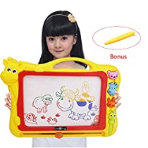 XL Size Magnetic Drawing Board + Extra 1 Pen,Erasable Colorful Doodle Drawing Board Toys for Kids Writing Sketching Pad with 3 Shape Stamps,Preschool Learning and Educational Toy by Stwie