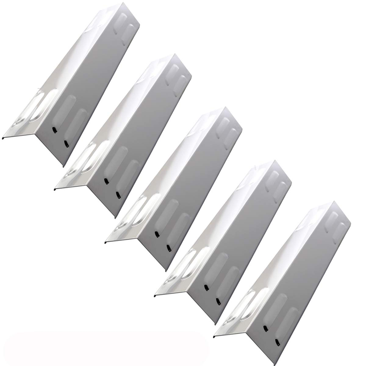 Hisencn (5-Pack Repair Parts Stainless Steel Heat Plate, Heat Tent, Burner Cover, Heat Shield 105-13003 Replacement for Dyna-Glow 5 Burner DGE 530/486 Series DGB390SNP-D, DGB390GNP-D Gas Grill Models