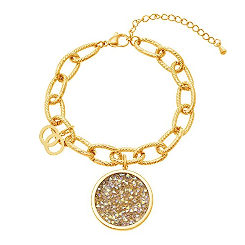 gold-tone-stainless-steel-25mm-aurore-borealis-crystal-circle-charm-8-textured-cable-chain-bracelet