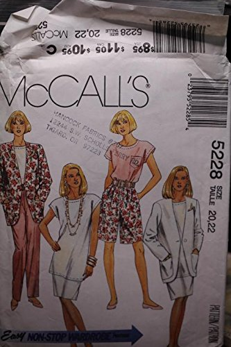 McCall's Pattern 5288 Sz 20,22 Misses' Unlined Jacket,Tunic Or Top, Skirt,Pants And Shorts