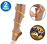 Copper Infused Zipper Compression Socks - Open Toe Zip Up Circulation Pressure Hose Stockings - Zippered Knee High For Support, Reduce Swelling - Seen On TV (2 Pairs) (Nude, X-Large)