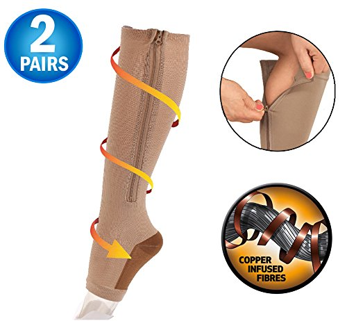 Copper Infused Zipper Compression Socks - Open Toe Zip Up Circulation Pressure Hose Stockings - Zippered Knee High For Support, Reduce Swelling - Seen On TV (2 Pairs) (Nude, X-Large) by 5 Star Super Deals